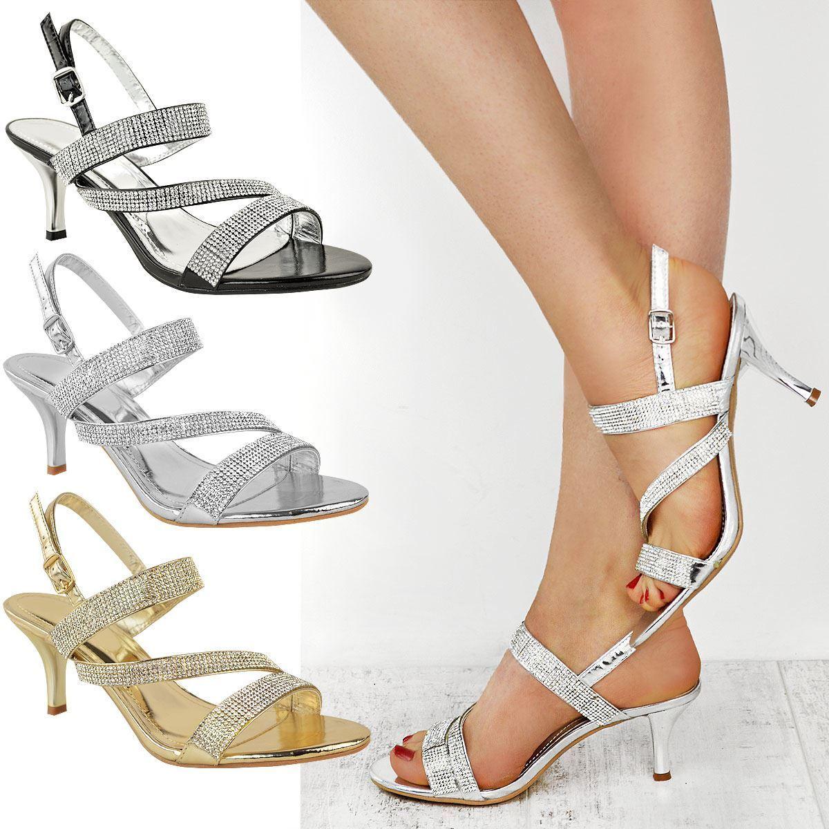 Womens Ladies Diamante Mid Heel Prom Bridal Wedding Shoes Evening Sandals Size