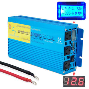 New-LCD-Pure-Sine-Wave-Power-Inverter-1000W-2000W-12V-to-240V-Boat-Car-converter