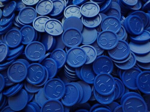 Wertmarken Pfandmarke Event Einkaufswagenchip mit einer 5, Gravur Ekw 15 Blau
