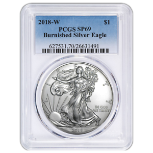 2018-W Burnished $1 American Silver Eagle PCGS SP69 Blue Label