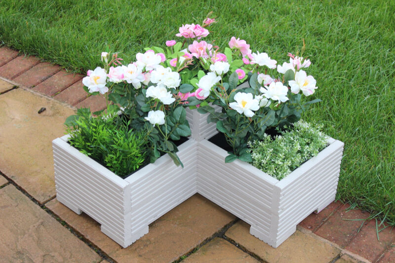 Muted Clay 3 Tier Corner Planter Painted Wooden Garden Troughs or Plant Pots