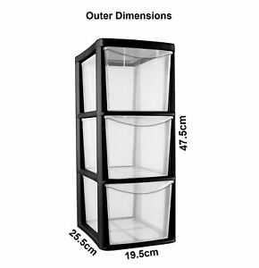 Image is loading CrazyGadget-Plastic-Storage-Tower-3-Drawer-Heavy-Duty-  sc 1 st  eBay & CrazyGadget® Plastic Storage Tower 3 Drawer Heavy Duty Medium (Black ...