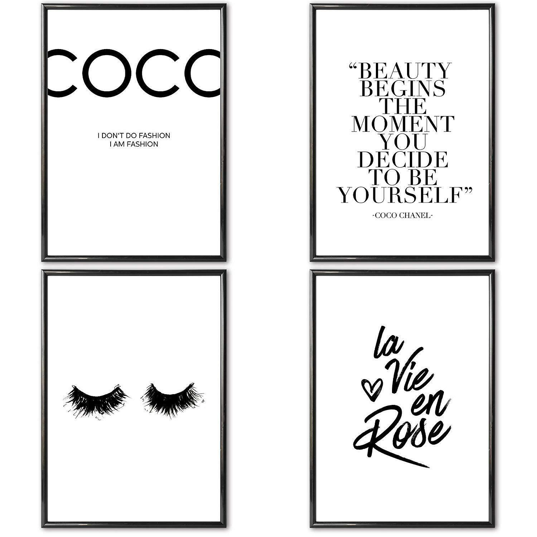 Details Zu Verschiedene Poster Set S Coco Chanel 4 X Din A4 Auch Mit Bilderrahmen 2019