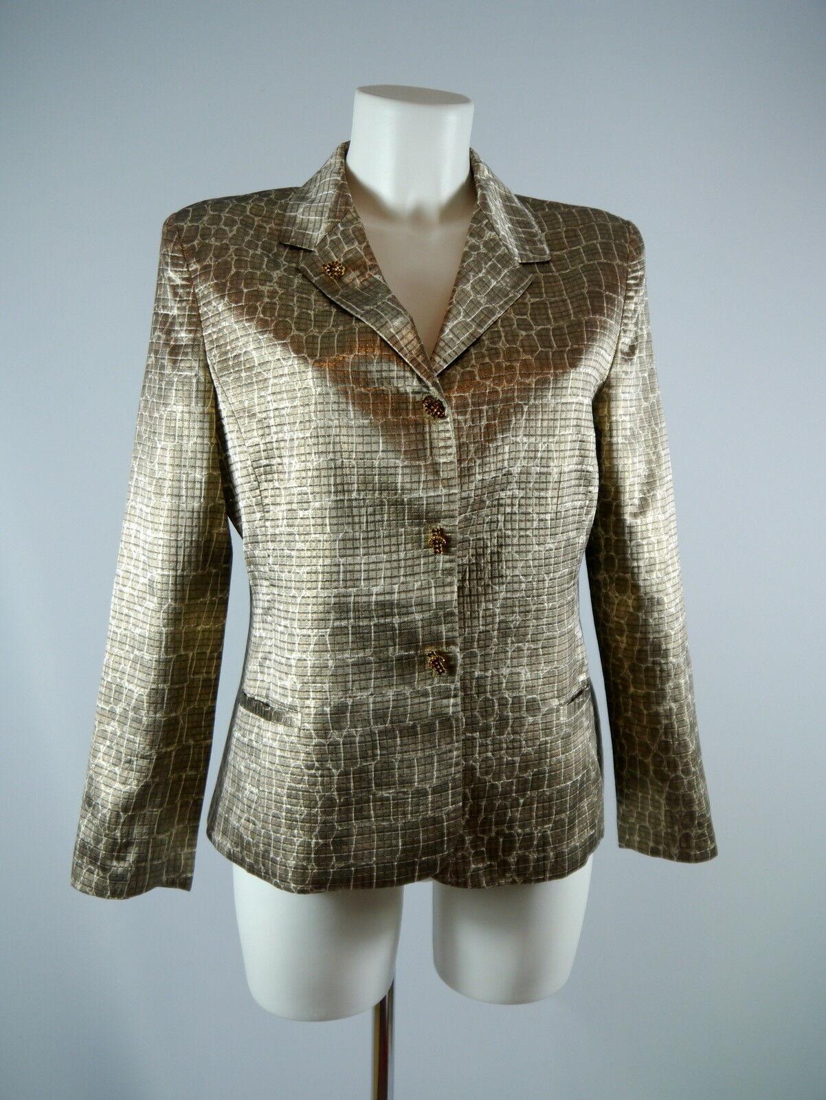 Edler Roberto Verino Da. Seiden Blazer mit Snakeskin Print in Gold Gr. 40 TOP