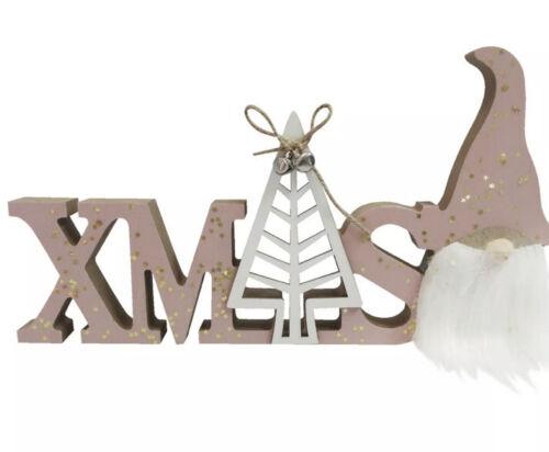 Blush Pink Gonk Santa Plaque Free Standing Xmas Christmas Decoration Stand