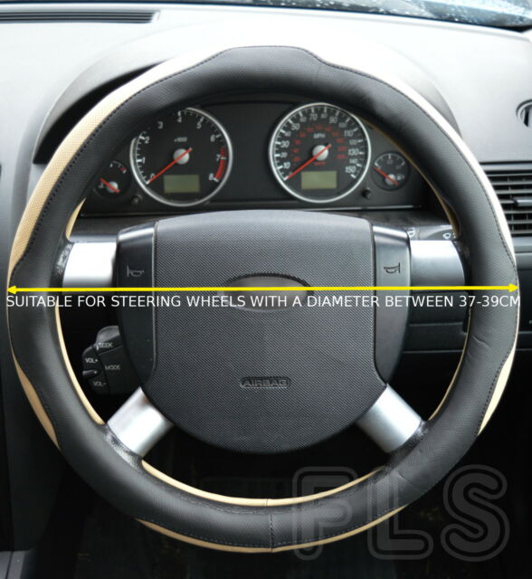 PROTON FAUX LEATHER BLACK/BEIGE STEERING WHEEL COVER