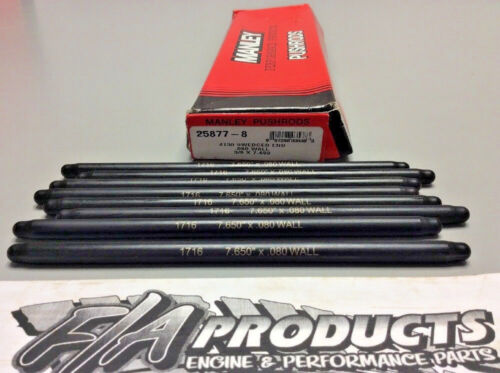 """Manley 25877-8 Swedged End 7.650/"""" Long .080/"""" Wall 3//8/"""" 4130 Push Rods Set Of 8"""