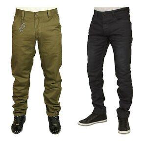 Para-Hombre-CALCE-Chinos-Conicos-Disenador-Eto-Pantalones-de-Algodon-Pantalon-Color-Aceituna-28-42