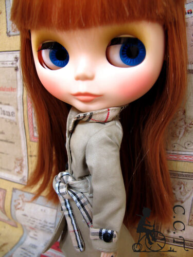 C.C.T Blythe Pullip Dal doll outfit Trench Coat Khaki c-467