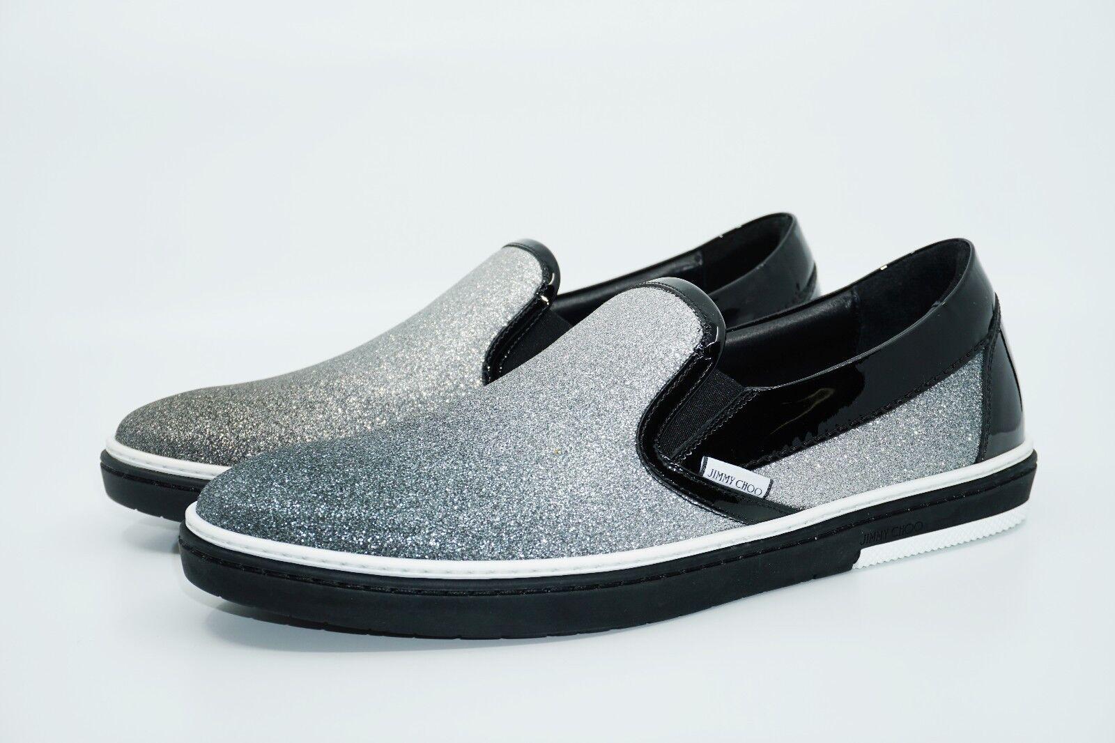 Jimmy Choo Men's Grove Glittered Leather Slip-On Sneaker,Silver/Black, MSRP $595