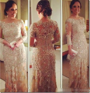 Champagne-Long-Sleeve-Bling-Mother-of-the-Bride-Dresses-Crystal-Beading-Formal