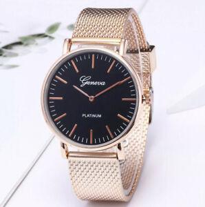 Reloj de pulsera Geneva Unisex Mujeres Señoras para hombre Relojes de banda de Malla Oro Reino Unido Vendedor