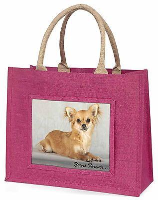 Braun Chihuahua Yours Forever  Große Rosa Einkaufstasche Weihnachten,