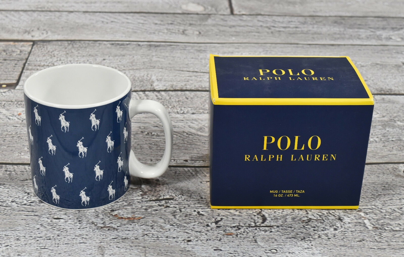 (4) Ralph Lauren Polo Marine Poney Logo Tasses Café Set Neuf