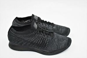 Details about Nike Flyknit Racer Triple Black Anthracite 526628 009 Size 7 New