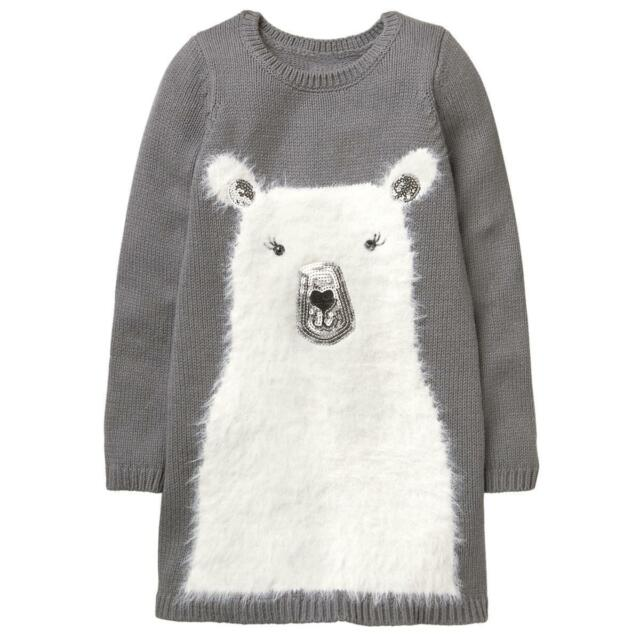 08feaf0ca37b9 SZ 4 5 Gymboree Gray Fuzzy POLAR BEAR Sweater Dress Tunic Girl NWT ...