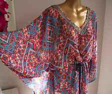 BN XL MONSOON EMBELLISHED KAFTAN KIMONO BEACH HOLIDAY CRUISE MAXI DRESS 20-22