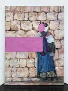 Expressionist-Modern-Art-Composition-Figure-Before-Stone-Wall-Wall-Woman-Dress