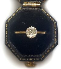 SPARKLY c1910 1/2ct OLD CUT DIAMOND SOLITAIRE ENGAGEMENT RING 18ct GOLD PLATINUM