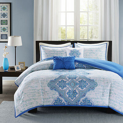 BEAUTIFUL CHIC BLUE AQUA TEAL GREY RUFFLE GLOBAL EXOTIC COMFORTER SET W PILLOWS