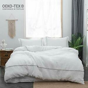 Simple-amp-Opulence-100-Linen-Duvet-Cover-Set-3pcs-Hotel-Collection-Striped-Bedding