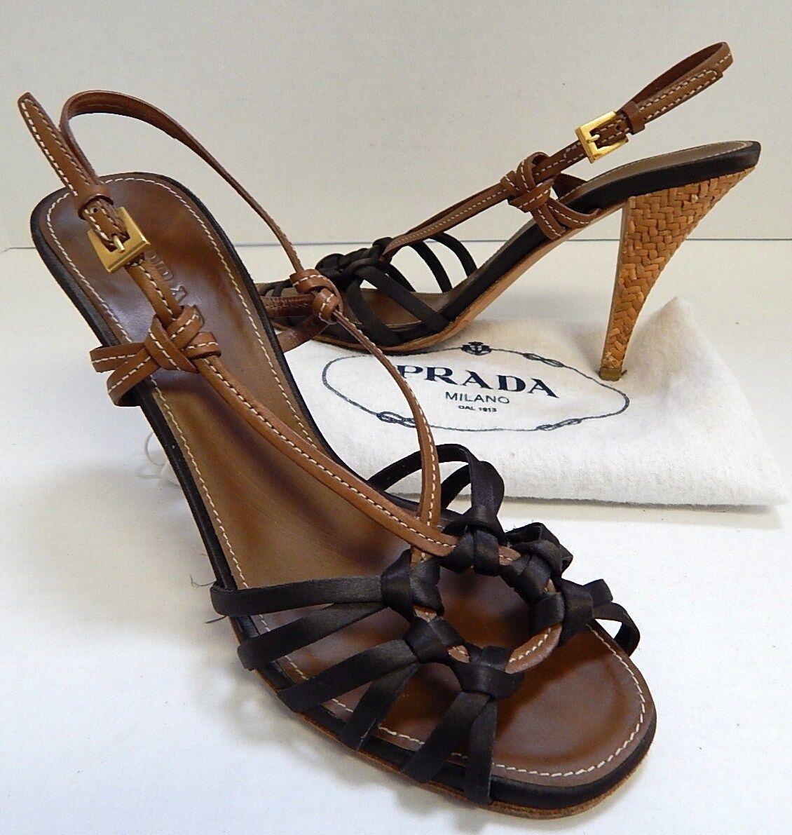 Prada 36.5 6M Braun Leder Satin Strappy Slingback Heels