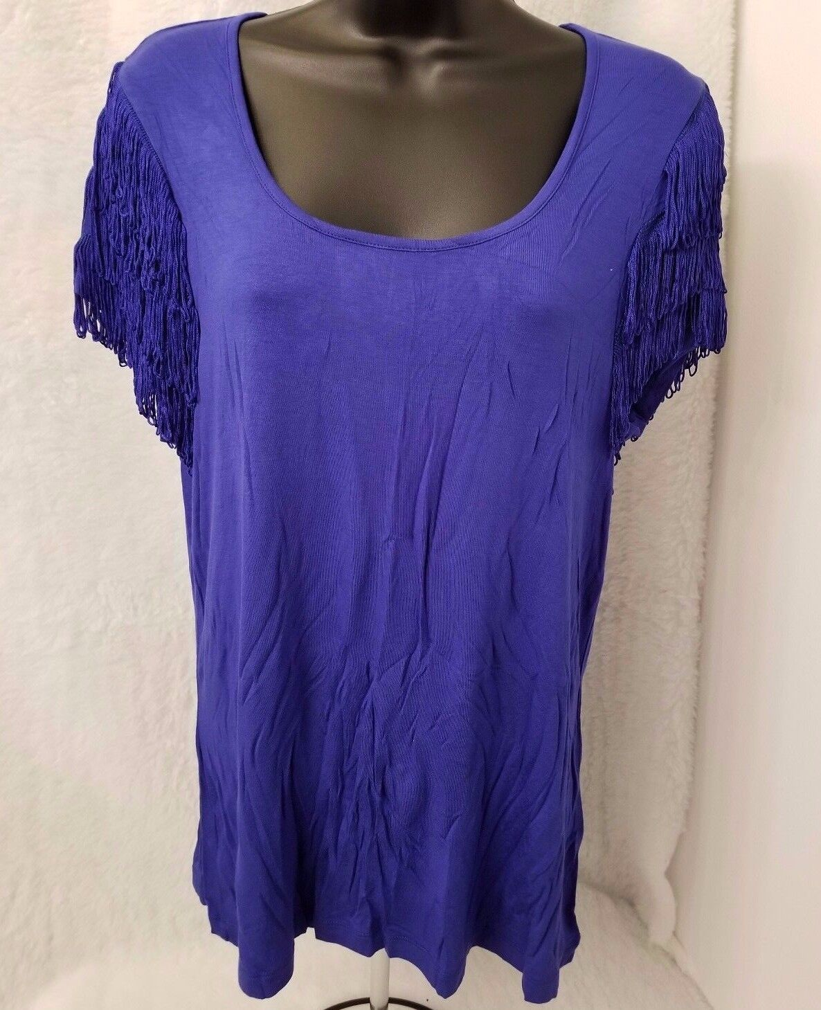 Spense NWT Womens bluee w  Fringes on Sleeve Shirt Top Size XL