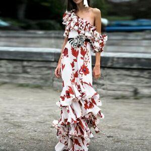 b58911b46b39b Details about HIGH QUALITY New Fashion 2019 Designer Runway Dress Women's  One-shoulder Floral