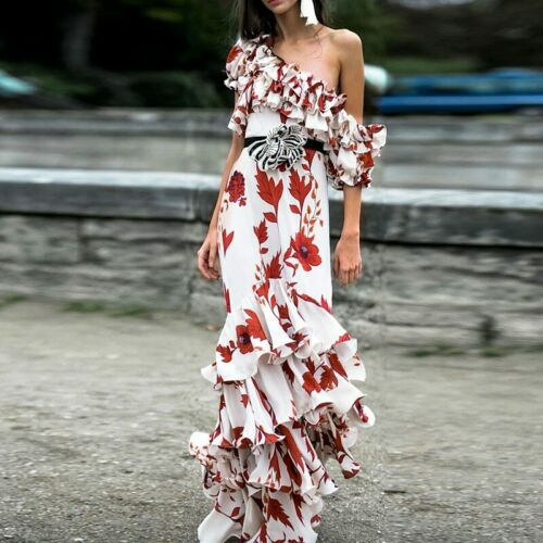 New Fashion 2019 Designer Runway Dress Women/'s One-shoulder Floral Beach Party