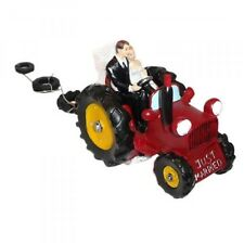 Tractor Cake Topper - Bride & Groom on Red Tractor Wedding Cake Decoration