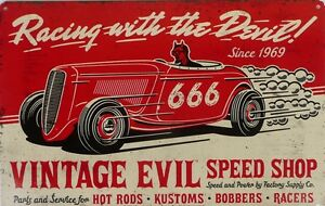 VINTAGE-EVIL-RACING-All-Weather-Metal-Sign-With-An-Aged-Look-450mmx300mm