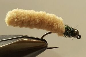 Fly Fishing Flies 12 Beaded Dust Mop Fly Light Olive Green size 10 Barbless Jig