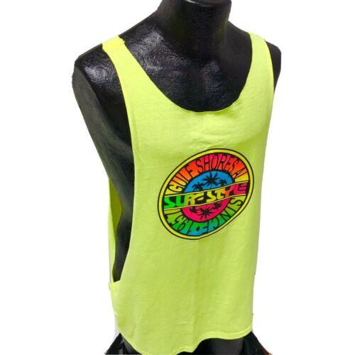 Vtg 90's Surf Style Men NEON Yellow Tank Top Sleev