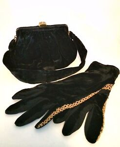 Vintage Evening Bag Matching Gloves Morris Moscowitz Black Velvet Lucite Clasp