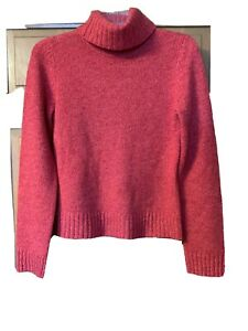 Daniel-Bishop-Women-s-Sweater-Pullover-Sz-M-Turtleneck-100-Cashmere-Red-Knitted