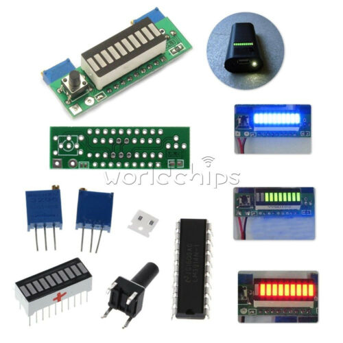 LM3914 3.7V Lithium Battery Capacity Indicator Red//Geen//Blue LED Display Module