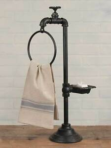 Country-Primitive-Cottage-Bathroom-Water-Faucet-Spigot-Soap-and-Towel-Holder