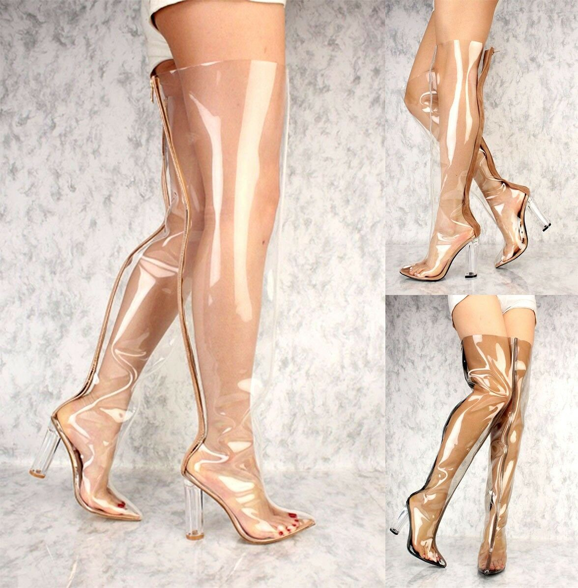 LOT CLEAR schwarz Gold NUDE POINTY TOE CLEAR CHUNKY HEEL THIGH HIGH Stiefel PATENT