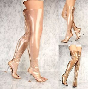 LOT-CLEAR-BLACK-GOLD-NUDE-POINTY-TOE-CLEAR-CHUNKY-HEEL-THIGH-HIGH-BOOTS-PATENT