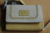 Sharif it Essential Pebble Leather Indexer Wristlet Wallet -cream/yellow