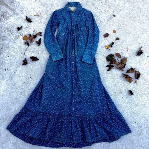 Antique Victorian 1870s Indigo Blue Calico Work D… - image 1