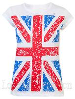 Womens T Shirts Ladies Union Jack Flag Royal Summer London Tops White Size 8 -16