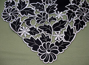 Image Is Loading New Black Silver Leaf Daisy Embroidered Table Runner