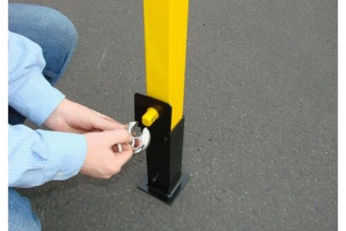 Maypole Amarillo Sólido Acero entrada Estacionamiento Seguridad Post bolardo con candado