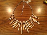 Chicos Jeweled Tri- Colored Jeweled Bib Dangling 16+4 Necklace
