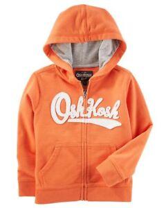 OshKosh B/'Gosh Infant Boys Zip-Up OshKosh Logo Hoodie Orange NWT hooded jacket