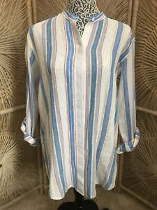 Womens-ANTHROPOLOGIE-ADRIANO-GOLDSCHMIED-Striped-Linen-Blend-Top-Blouse-Size-S