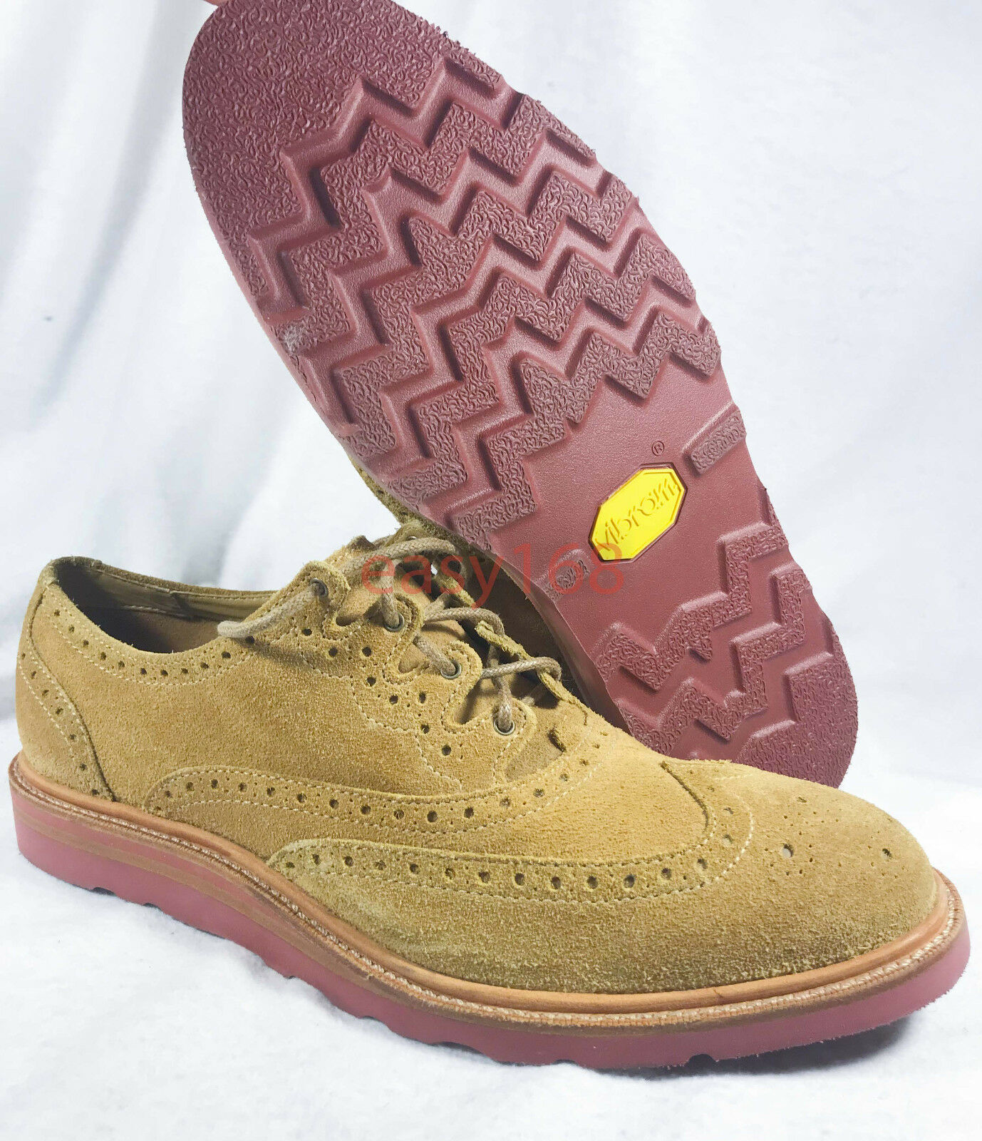 New Cole Haan Wingtip Suede Sz 8.5 Oxford Shoes Vibram C12040 Dress Brown