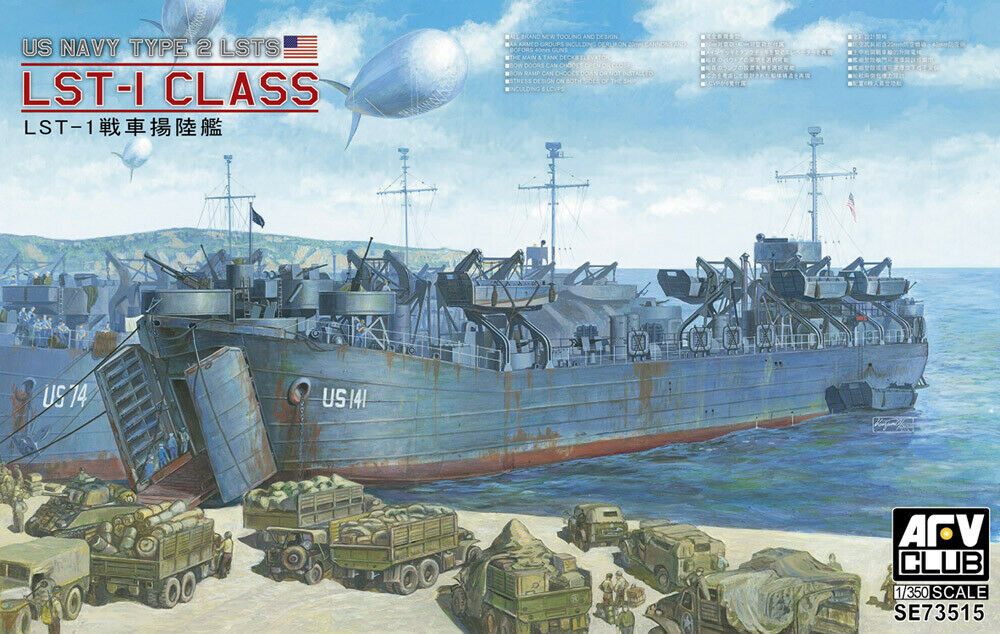 AFV Club 1 350 U.S. Navy LST-1 Class (Type II) WWII Landing Ship Tank New Tooli