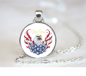Free Spirit Eagle PENDANT NECKLACE Chain Glass Tibet Silver Jewellery